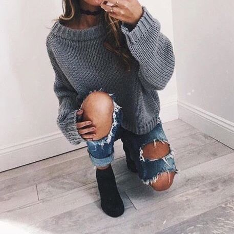 Teen fashion  Grey sweater  Winter fashion  Ripped jeans  Boots. 6972 best Teen Tumblr girl Fashion images on Pinterest