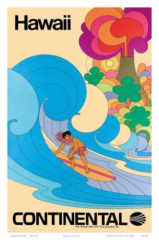 Continental Hawaii Surfer c.1960's. Art print from Art.com.