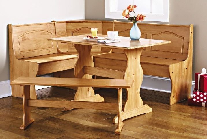 Details about corner furniture table bench dining set breakfast kitchen nook solid pine wood - Kitchen table nooks ...