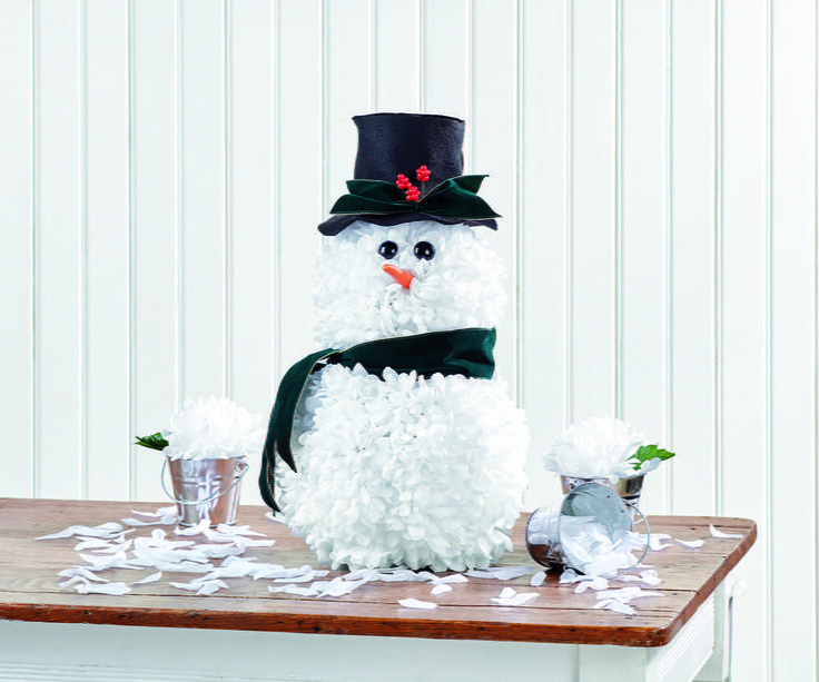 Fluffy White DIY Snowman