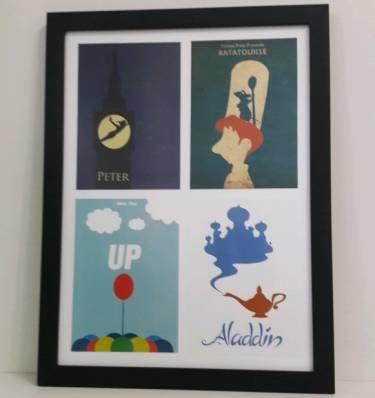 poster filmes animados: peter pan, up, aladin, ratatouille - decoração sem marca