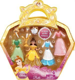 Disney Precious Princess Belle Sparkly Fashions Doll Set by Mattel. $23.59. Disney Princess Favorite Moments. Disney Princess Belle Beauty and the Beast. Disney Princess Belle Beauty and the Beast Favorite Moments. Contains 3 dresses, Belle, Chip and Lumire. It is in a carry bag. Not for children under 4 years old.
