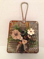 Vintage Button Bokay-Tin Grater-Early Prim-Farmhouse-Country Decor-Rustic-Ornie
