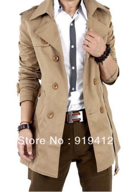 Novo 2013 primavera outono homens da moda casaco coreano masculino longo do vento jaquetão Plus Size Khaki preto grátis frete Z246(China (Mainland))