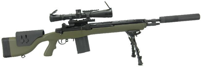 M14 Designated Marksman Rifle (DMR), as issued by US Marine corps. This particular rifle is fitted with quick-detachable sound moderator (si...
