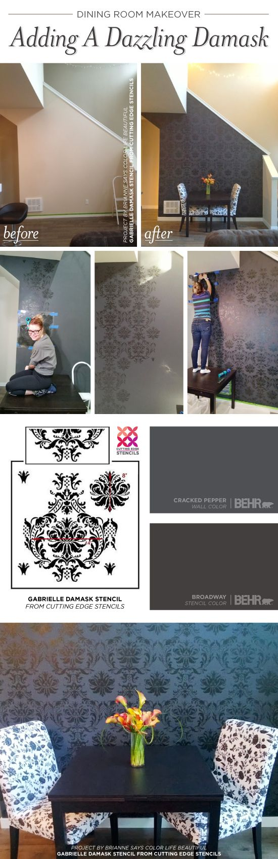 Cutting Edge Stencils shares a DIY stenciled dining room idea using the Gabrielle Damask wall pattern. http://www.cuttingedgestencils.com/damask-stencil-3.html