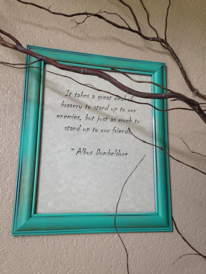 Simple Harry Potter Girls Bedroom. We framed some of her favorite Harry Potter quotes, and placed then throughout the branches of the indoor Whomping Willow.