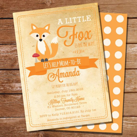 baby shower invitations fox theme  | Vintage Fox Baby Shower Invitation for a Boy or Girl - Instantly ...