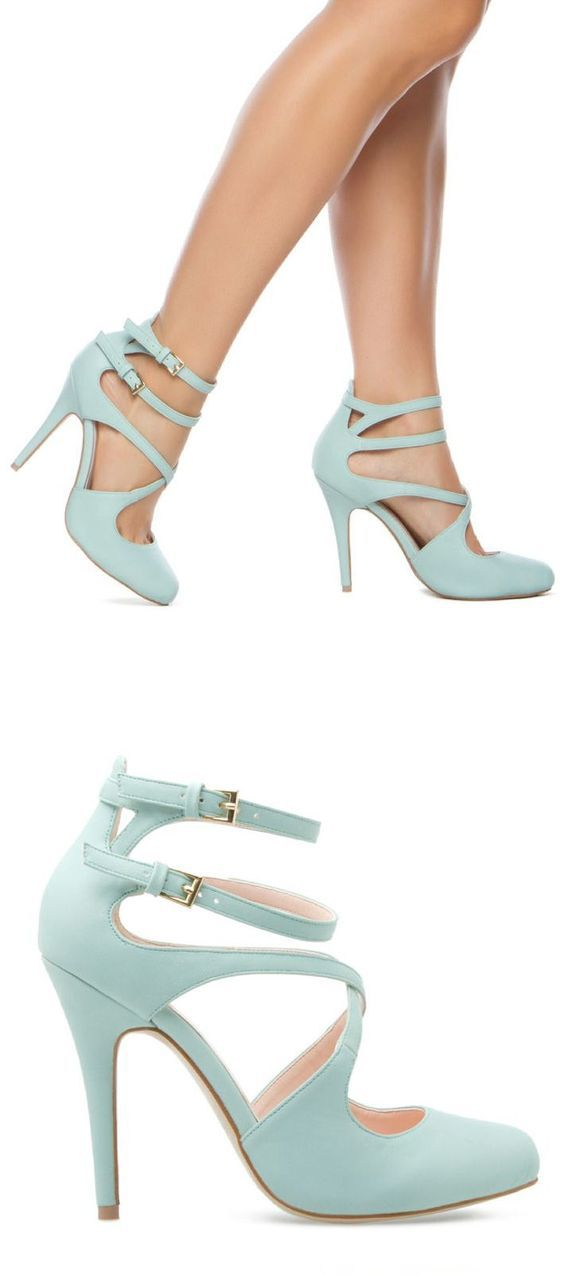 Mint Strappy Cutout Pumps ♡ Latest Shoes Trends.