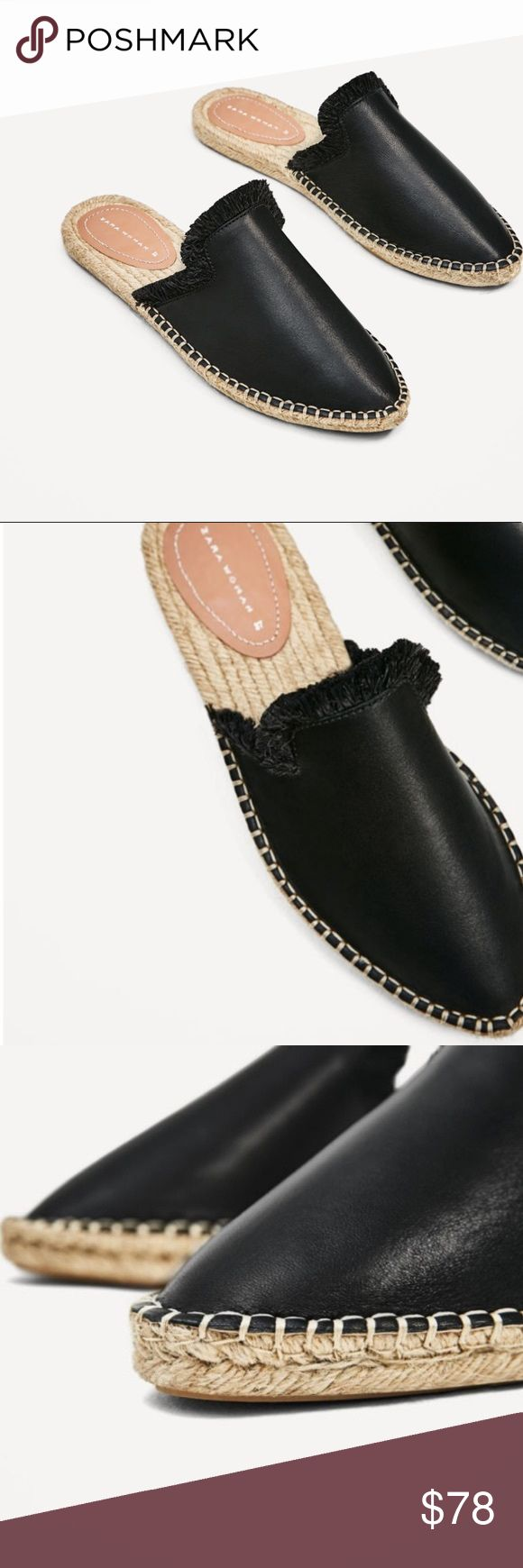 Zara Black Leather Mules Slide On Espadrille Shoes New with tags. Size 8. Sold out! Zara Shoes Mules & Clogs #ClogsShoesWinter