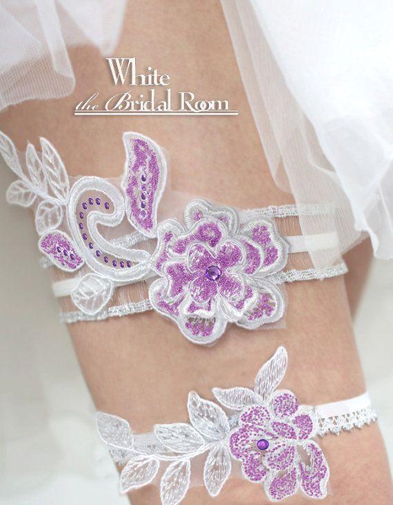 Purple And White Bridal Garter Set Crystal Wedding Flower Belt