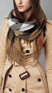 A fall outfit with a Burberry scarf, camel coat. Learn how to wear a scarf this fall >>> http://justbestylish.com/20-stylish-ways-how-to-wear-scarf-this-fall/2/