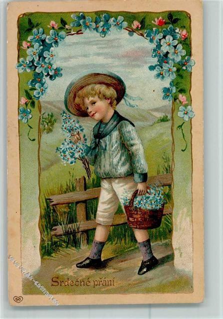 Junge mit Blumenkörbe - Srdecne prani AK: Ansichtskarten-Center Onlineshop