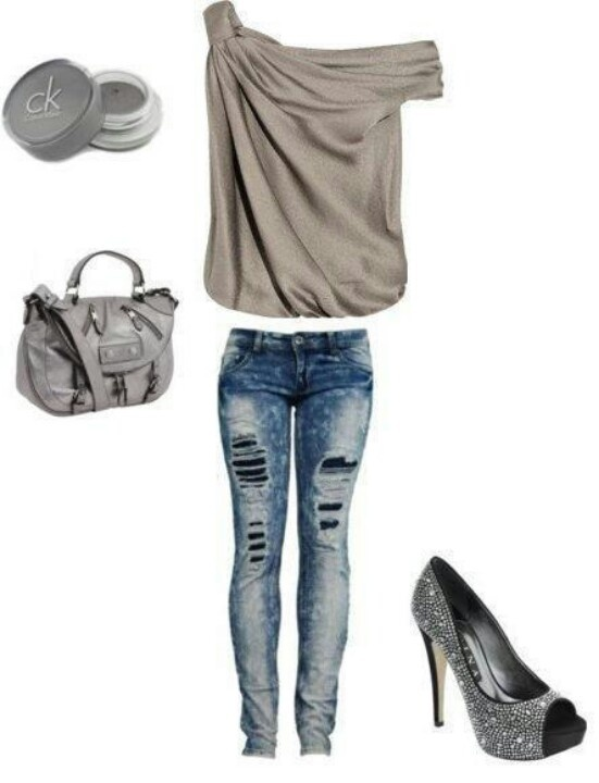 Cream Top And Skinny Jeans Club Outfit | My Style | Pinterest | The Top Ripped Jeans And Cute Tops