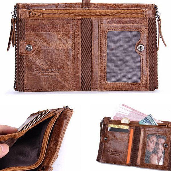 Men Genuine Leather Zipper Short Wallet Folding Totes Card Holders Bags  #men #women  #bags #fashion