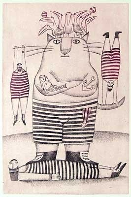 Circus act with a Tom-Cat - Adolf Born.