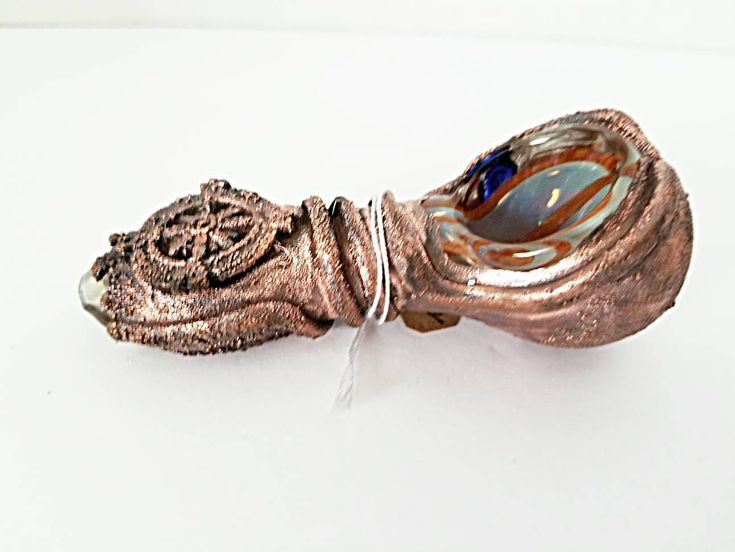 Light Blue and Orange Color Changing Glass Tobacco Pipe Electroformed Compass Pipe Pipes OOAK Unique Handmade Copper Pipes Gypsy Pipes