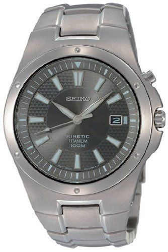 Seiko Men's SKA417 Kinetic Titanium Watch Seiko. $337.87. Water-resistant to 100 meters(330 feet). Case diameter: 41 mm. Quartz movement. Titanium case. Hardlex