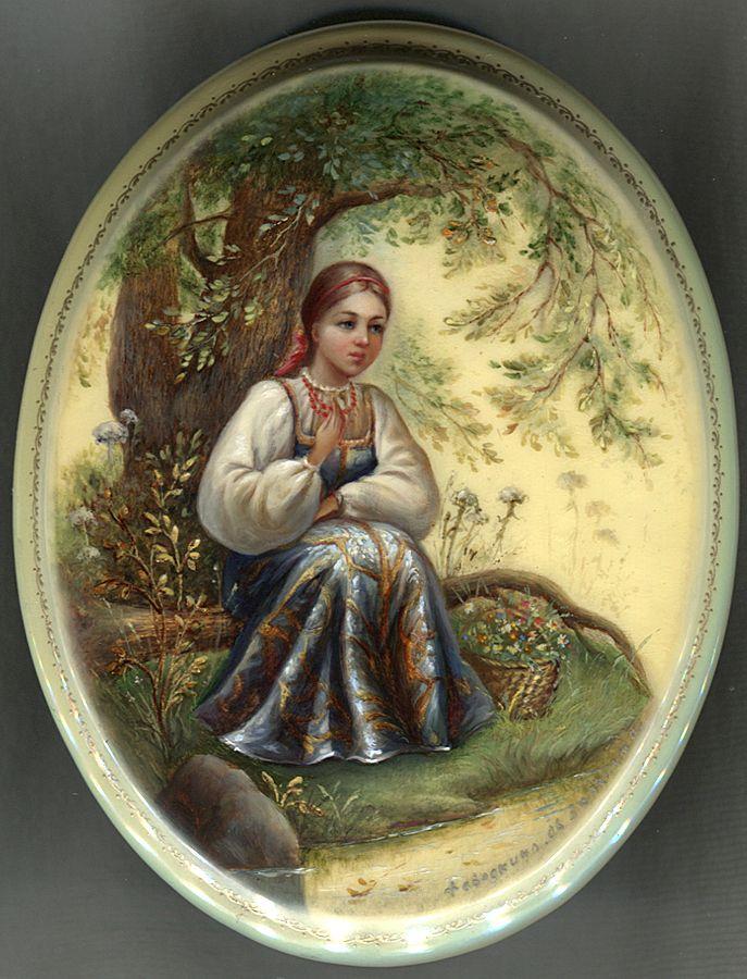 """Under The Shade Of A Tree"" Lacquer Art by Olga Zayakina (Fediskino)"