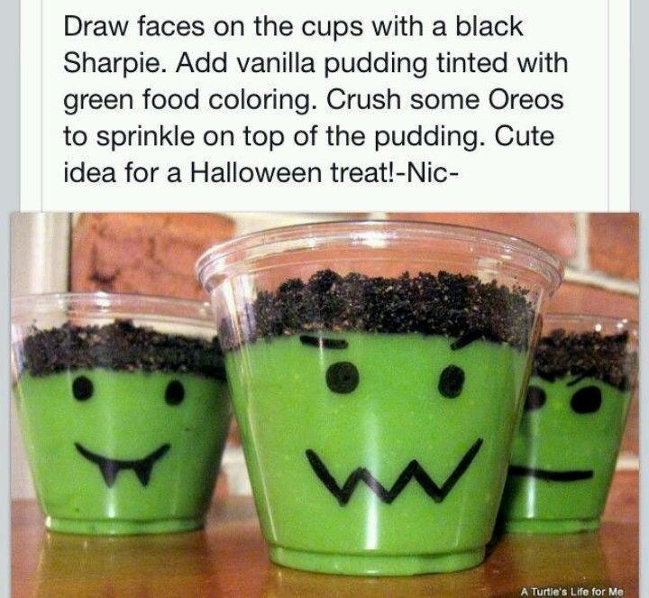 Halloween Pudding Idea! You Could Do Orange For Pumpkins Too.
