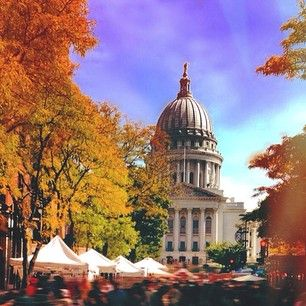Dane County Madison Farmers Market in the fall.