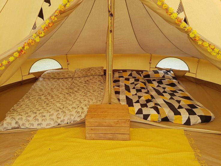 Bell tent glamping - bedroom inner - yellow interior #marietompson