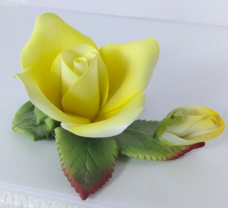 pretty Vintage Lefton yellow china rose sculpture with bud had label and number by antiquesnoopdog on Etsy
