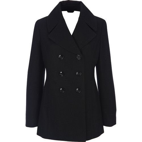 Womens Black Pea Coat Photo Album - Reikian