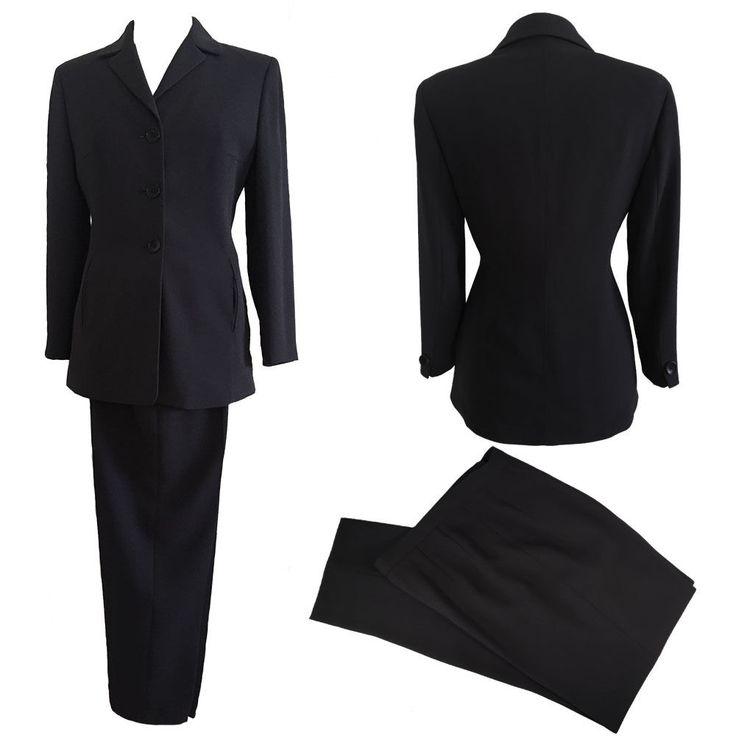 TAHARI Womens Slim fit Black Pant Suit SIZE 6 | eBay