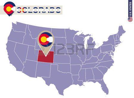 Estado de Colorado en EE.UU. mapa. bandera de Colorado y el mapa. Estados Unidos.