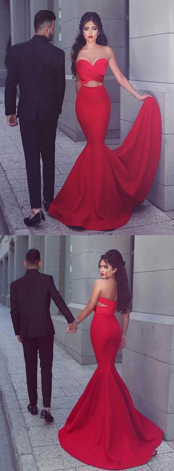 Mermaid Sweetheart Sweep Train Red Satin Prom/Evening Dress PG566 #promdresses #eveningdresses #pgmdress #fashion #mermaid