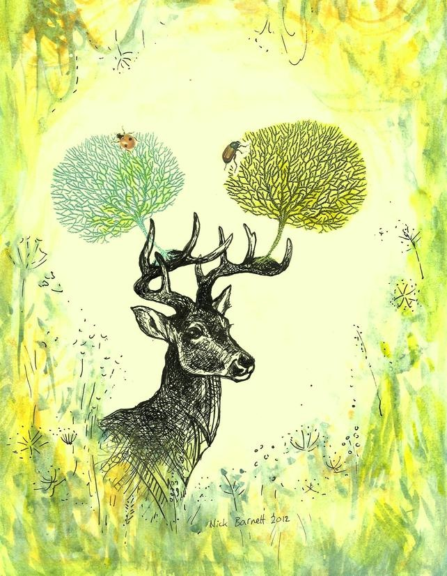Original drawing with print application & colour wash. Deer With Coral Antlers £38.00