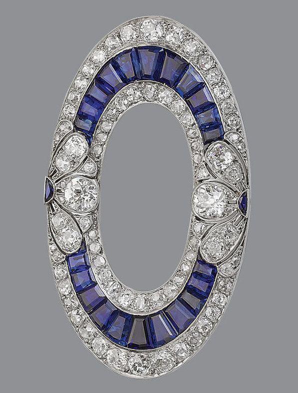 Art Deco Sapphire Diamond Brooch 1915