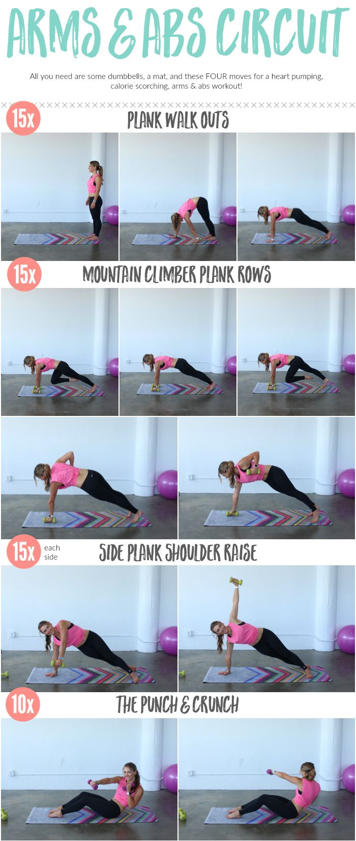 Tighten and tone the arms & the abs all in one workout! These exercises do double duty to sculpt every inch of your upper body.