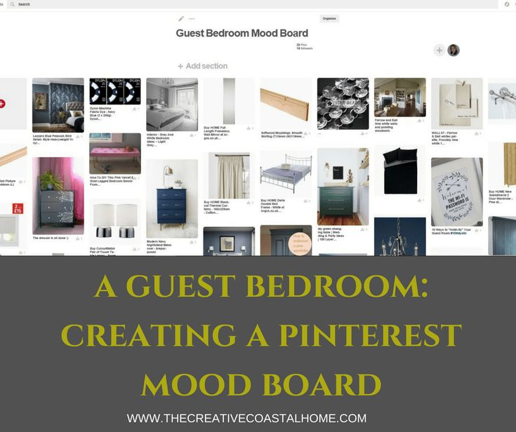 creating a pinterest ideas board and mood board for a guest bedroom in a quirky country style
