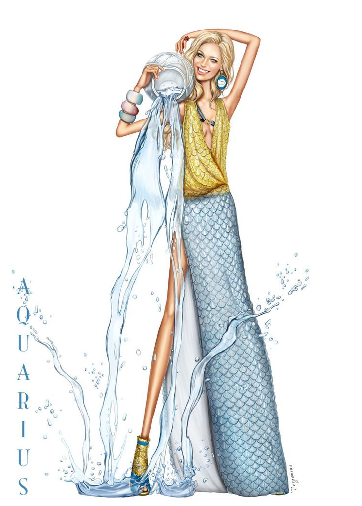 Aquarius - A stunning birthday card for the girl born between Jan 21 & Feb 20th.