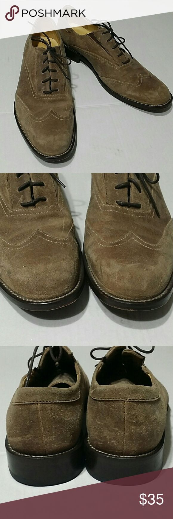 Joseph Abboud shoes Light tan suade laced shoes in size 9M, elastic alongside laces for a better fit.  Very good used condition. Joseph Abboud Shoes
