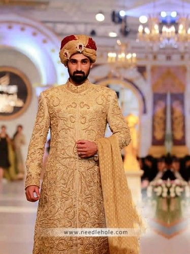 Cream #wedding sherwani in #raw silk, embroidered collar, front and sleeves http://www.needlehole.com/cream-wedding-sherwani-in-raw-silk.html #Deepak parwani #sherwani suits and #kurta #shalwar for men. Pakistani men's sherwani suits and indian sherwani collection by deepak parwani sherwani stores in usa, uk