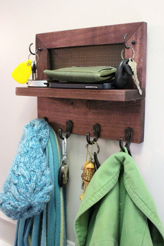 Beautiful, Space Saving Wall Mounted Key Organizer, Entryway Shelf, Phone, Wallet and Key Holder