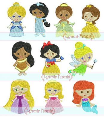 Embroidery Designs - Mini Princess Design Set - 10 Filled Minis in 3 sizes 4x4 - Welcome to Lynnie Pinnie.com! Instant download and free applique machine embroidery designs in PES, HUS, JEF, DST, EXP, VIP, XXX AND ART formats.