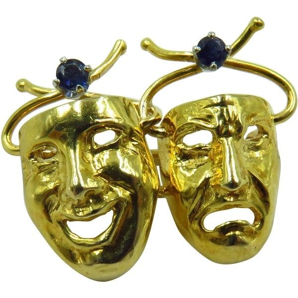 1960s Tiffany Co Whimsical Sapphire Comedy Tragedy Theater Masks Gold... ($2,160) ❤ liked on Polyvore featuring jewelry, brooches, 18k jewelry, pin jewelry, yellow gold jewelry, 18k gold jewelry and 18 karat gold jewelry
