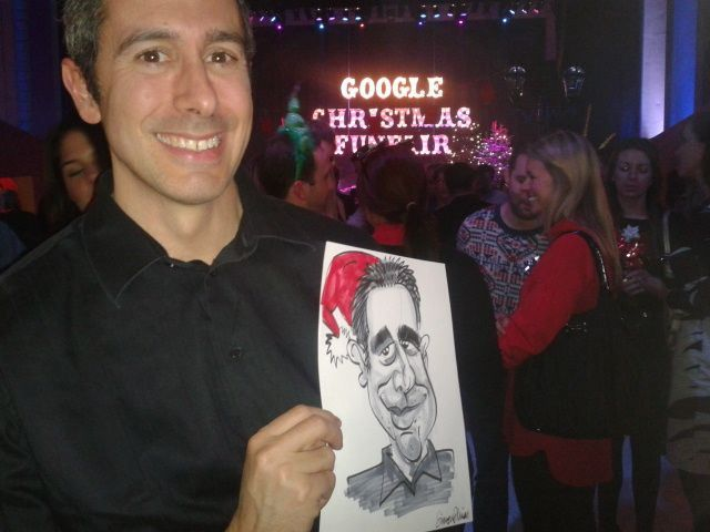 Google Xmas Party NOW'S THE TIME for companies to finalise their Christmas Party entertainments.  Caricatures at Christmas Parties are great because guests take away a great souvenir of the event with the company name and logo printed on.  Above you can see the happy recipient of a caricature at the Google Christmas Party from last year.