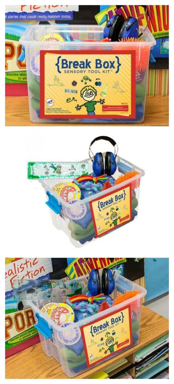 Break Box: Sensory Tool Kit - Customize your own Break Box to help students renew concentration, calm down or re-energize for better learning results. (affiliate)