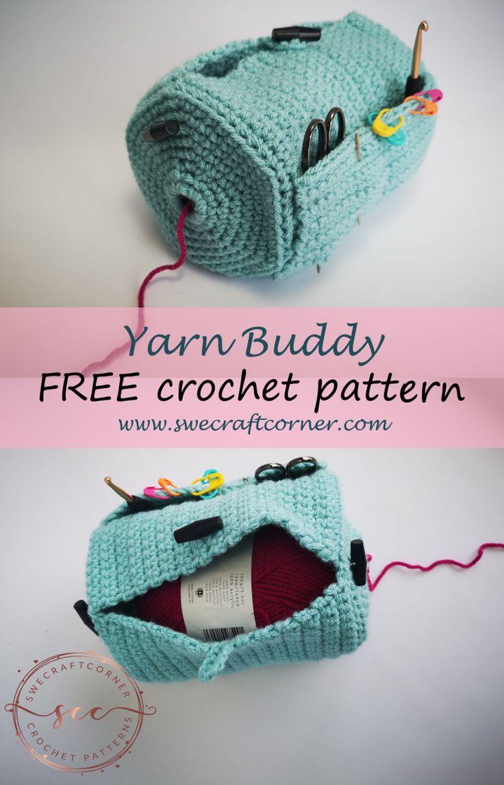 Yarn Buddy – FREE crochet pattern – Swecraftcorner Yarn caddy crochet patter…