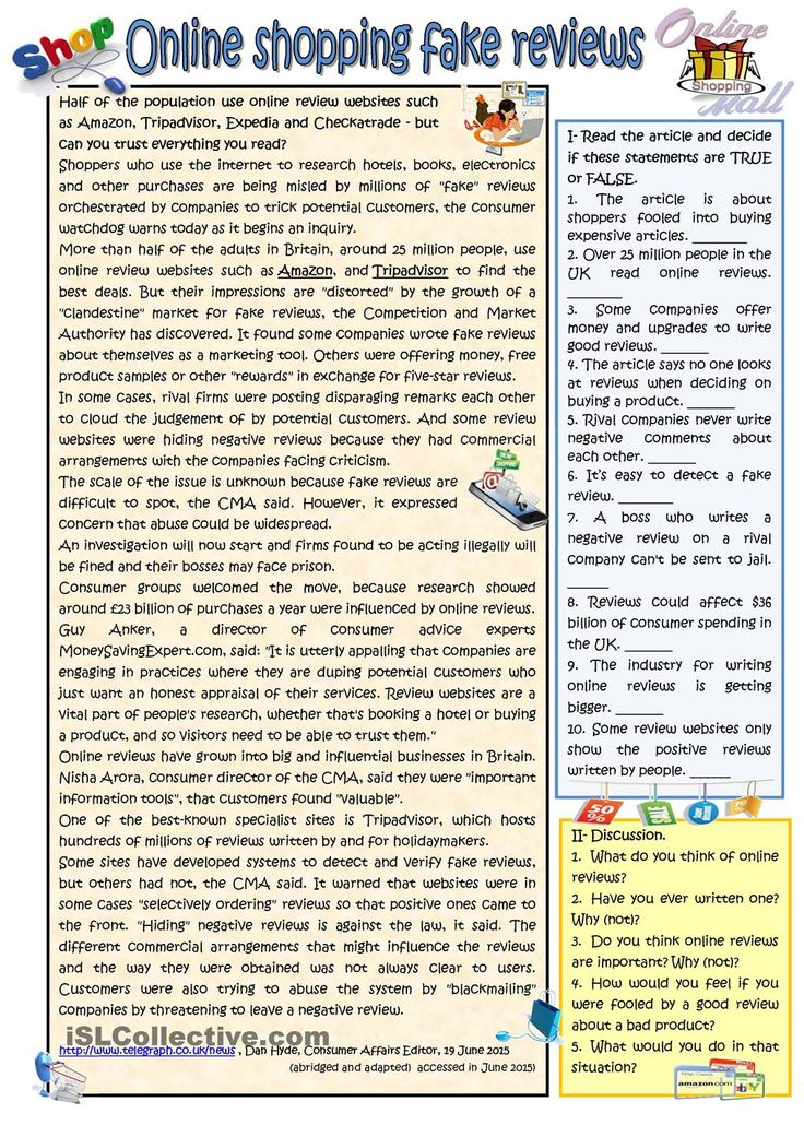 Fake reviews in online shopping. ESL worksheet of the day on June 22, 2015 by Mirita.