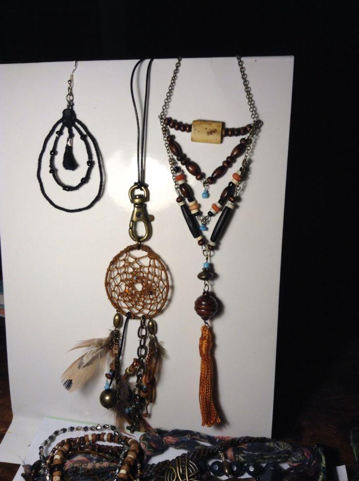 Boho, jewellery, DIY, neclace, earrings, gypsy, dream catcher, leather, tassels,  halsband, smycken, örhängen, drömfångare,