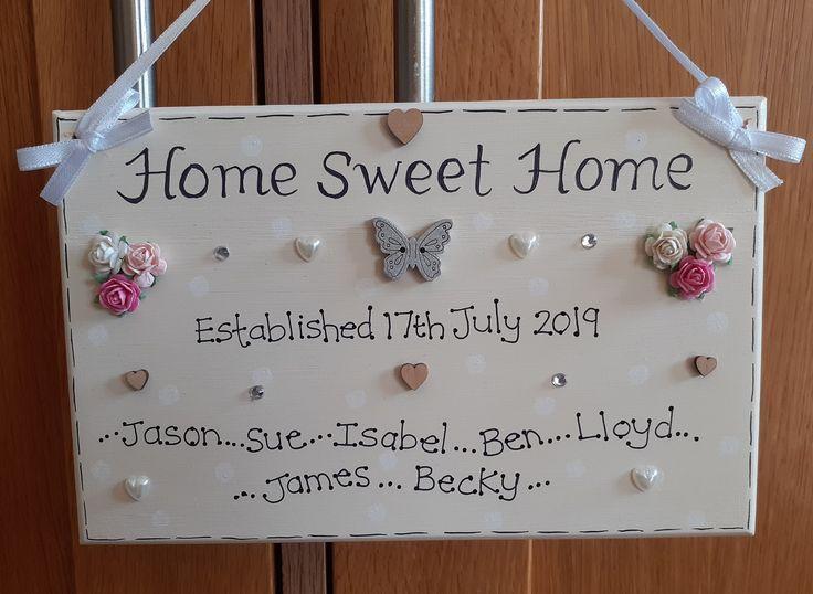 Personalisierte Home Sweet Home Familie Geschenk Plakette Neues