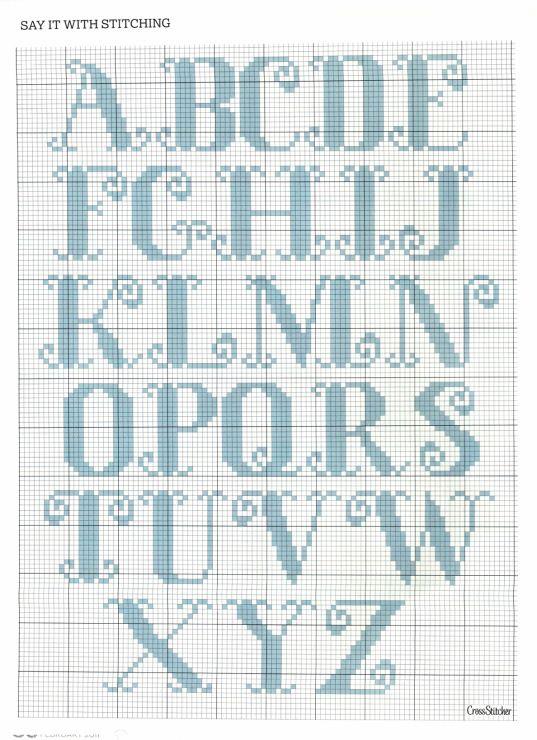 Alphabet x stitch slight curly most of the upper case 1 of 2