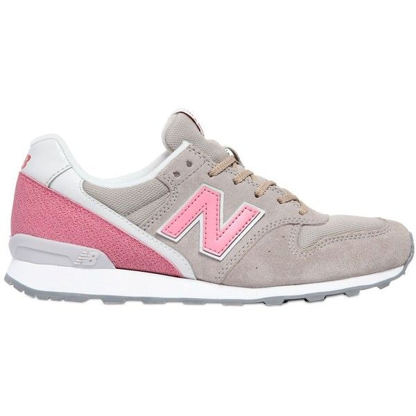 NEW BALANCE 996 Suede & Mesh Sneakers - Grey/Pink ($115) ❤ liked on Polyvore featuring shoes, sneakers, new balance, mesh sneakers, pink sneakers, gray sneakers and suede sneakers
