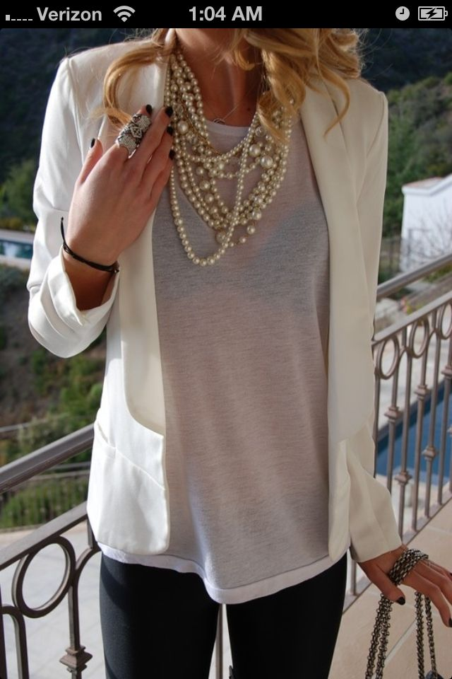 Love this.  Have the jacket and some pearls.  Need flowy tops to wear under the jacket.  Preferably not sleeveless though so you can take off the jacket if get's too hot out but not freeze in your office.